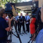 Deputy Commissioner Ross Barnett, Minister Jack Dempsey and Commissioner Ian Stewart launch Operation Unite.